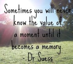 Value of a moment. No matter how big or how small it may be. When you start to play it back in your head...you're going to wish you could go back to that moment or moments...and just live it again and again.