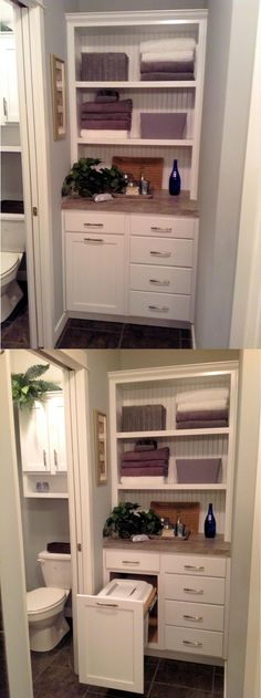 custom spa cabinet tower with pull out hamper to replace closet in bathroom - Bathroom Closet Designs