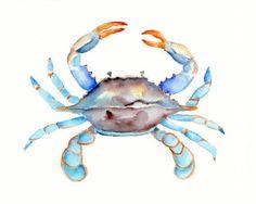 Blue Crab Watercolor Print- 11 X 14