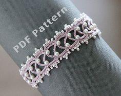 Tatting lace bracelet pdf pattern Butterfly Garden