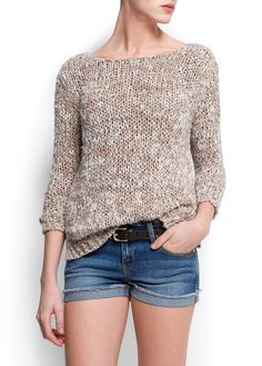 Chunky knit sweater with lurex, round neck, long sleeves, v-scoop back, ribbed cuffs and hem. Jersey Fashion, Knit Patterns, Crochet Clothes, Summer Outfits, Sweaters For Women, Fashion Outfits, Clothes For Women, Knitting Ideas, Fashion Inspiration