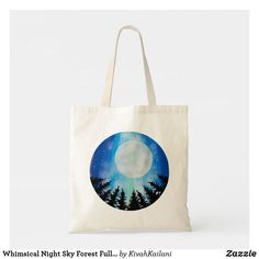 Shop Whimsical Night Sky Forest Full Moon Digital Art Tote Bag created by KivahKailani.