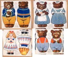 """My mother was born in 1926 and her mother made these bears for her. Uncut 1926 Kellogg's """"Goldilocks The Three Bears"""" Cloth Dolls 2962 