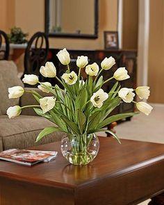 Amazon.com: Abundance of Silk Tulips Arrangement - Cream White: Home & Kitchen