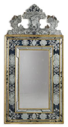 An Italian engraved clear and blue glass mirror, Venetian part 18th century and later | lot | Sotheby's