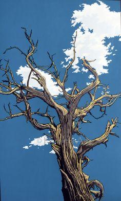 """""""The Reach"""" by Stephen Harmston Woodcut Art, Linocut Prints, Art Prints, Landscape Art, Landscape Paintings, Landscapes, Ligne Claire, Medieval Art, Wildlife Art"""