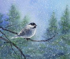 "Early Snow Chickadee watercolor 7 x 8"""
