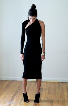 Black Dress / One Shoulder Pencil Dress / Midi by marcellamoda