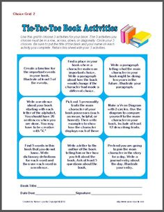 Tic Tac Toe Book Activities