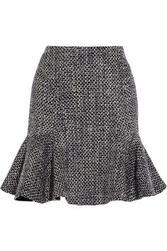Fluted bouclé-tweed skirt by Iris & Ink