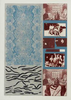 Available for sale from Marlborough Graphics, R. Kitaj, Old and New Tables 4 color screenprint, photo-screenprint, 25 × 17 in Art Pop, Mises En Page Design Graphique, Grafik Art, Acid Art, Stencil Printing, Photocollage, Airbrush Art, Hippie Art, Print Artist