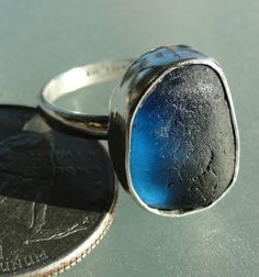 HL Sea Glass & Beach Glass Jewelry, English blue bezel set sea glass ring, set in fine silver and sterling silver.