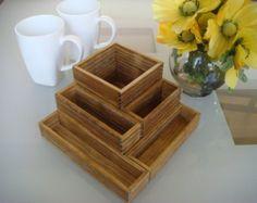 Flower Planter, Herb Garden, Stained wood, Plant Pot, Seed Starter, Miniature, 8 x 8  x 4 inch, Indoor. Outdoor