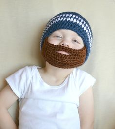 Crochet Baby Boy Beanie with Beard Hat - MADE TO ORDER. $25.00, via Etsy.---this is for Jessica though