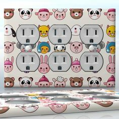 DIY Do It Yourself Home Decor - Easy to apply wall plate wraps | The Cutie Company  Little pets  wallplate skin sticker for 3 Gang Wall Socket Duplex Receptacle | On SALE now only $5.95