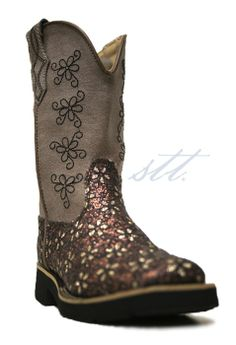 Roper Kids Floral Glitter Cowgirl Boots -- The flower girl needs boots too! | SouthTexasTack.com