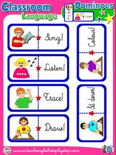 Classroom Language - Dominoes game (Picture - Word)