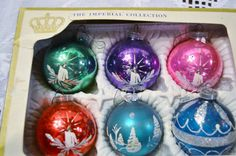 Vintage Christmas Glass Ball Ornament  Box of 6 by PanchosPorch