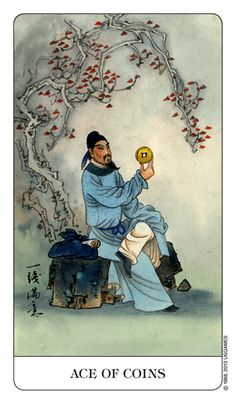 Rendered in the rich style of traditional Chinese artwork, the vibrant colors and clear messages of The Chinese Tarot Deck offer an aesthetic and accessible tarot experience. Hermetic Tarot, Ace Of Pentacles, Chinese Artwork, Rider Waite Tarot, Free Tarot, Tarot Readers, Major Arcana, Watercolor Design, Tarot Decks