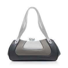 Tiffany Sydney satchel in light gray, charcoal and onyx smooth leather.