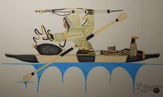 Original Inuit Eskimo Signed Lithograph, colored pencil HUNTER and BOY, Peter Ragee, Cape Dorset