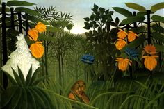 The Repast Of The Lion Jungle Meal French Painting By Henri Rousseau Repro