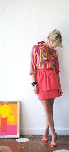 Candy Stripe Blouse by DevonBaerDesigns on Etsy, $228.00