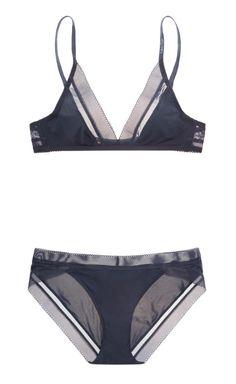 Calvin Klein | Icon stretch-satin soft-cup triangle bra and briefs