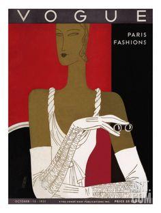 Vogue Cover - October 1931 Regular Giclee Print by Eduardo Garcia Benito at Art.com