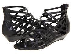 Strappy black gladiator sandal with small wedge heel. Gabriella Rocha Yannucci Black Leather - 6pm.com