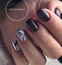 Cute Nail Art Designs, Black Nail Designs, Nail Swag, Batman Nails, Gel Nagel Design, Geometric Nail Art, Gelish Nails, Striped Nails, Trendy Nail Art