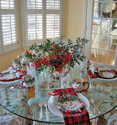 Christmas Tablescape: Cozy, Woodland Setting with Plaid Dishware, Acorn Napkin Rings and an Antler & Deer Centerpiece Christmas Table Settings, Christmas Tablescapes, Christmas Table Decorations, Holiday Tables, Decoration Table, Holiday Decor, Holiday Ideas, Christmas Tea, All Things Christmas