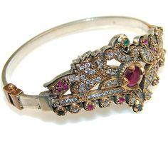 $96.85 Fabulous Design Of Ruby Sterling Silver Bracelet at www.SilverRushStyle.com #bracelet #handmade #jewelry #silver #ruby