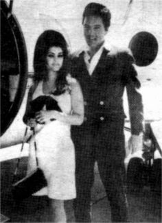 Elvis and Priscilla on their way to Palm Springs, CA for their Honeymoon.