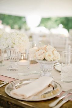 Set the scene with bright white and silver.