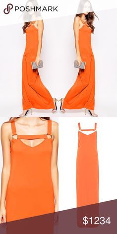 French Connection Tangerine Strappy Maxi Amazing long length Silhouette Maxi Dress by French Connection. It's features Crepe Fabric and a Strappy V- Neckline. Be Bold Be Beauitful in this amazing Maxi Dress. French Connection Dresses Maxi