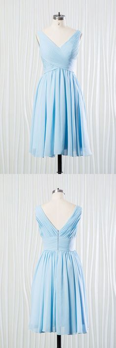 Only $89.8, Bridesmaid Dresses Elegant Short Chiffon Bridesmaid Dress Pleated In V-neck Sky Blue #FN6902 at #GemGrace. View more special Bridesmaid Dresses now? GemGrace is a solution for those who want to buy delicate gowns with affordable prices. Free shipping, 2018 new arrivals, shop now to get $5 off!