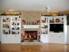 Painting of Built-In Cabinets around Fireplace, Give Special Accent to A Fireplace Mantel