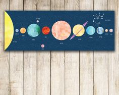 Personalized Solar System Print, Constellation Nursery, Solar System Art – Wall Decal or Wrapped Canvas – Constellation Decal – Personalized Constellation Print Constellation by JoliePrints Solar System For Kids, Solar System Art, Solar System Poster, Solar System Painting, Solar System Planets, Constellations, Constellation Art, Art Wall Kids, Canvas Wall Art