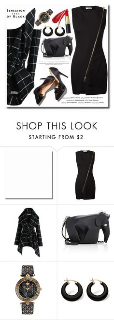 """Hot in Black"" by megalyssa ❤ liked on Polyvore featuring Vision, Bouchra Jarrar, Chicwish, Loewe, Versace, Palm Beach Jewelry and allblackoutfit"