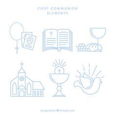 Set de elementos de primera comunión en estilo lineal  Vector Gratis