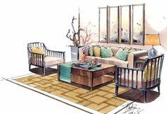 室内手绘马克笔_百度图片搜索 Interior Design Sketches, Interior Rendering, Outdoor Furniture Sets, Outdoor Decor, Perspective, How To Draw Hands, Architecture, Drawings, Table