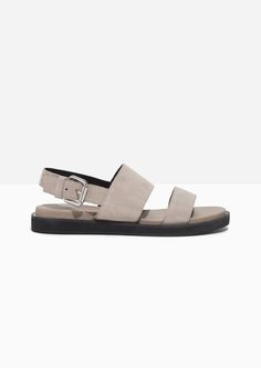 & Other Stories image 1 of Raw Edge Suede Sandals in Beige