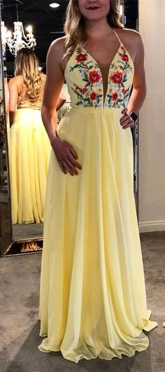 long prom dress, yellow long prom dress with embroidered floral, party dress, Shop plus-sized prom dresses for curvy figures and plus-size party dresses. Ball gowns for prom in plus sizes and short plus-sized prom dresses for Floral Prom Dresses, Chiffon Evening Dresses, Plus Size Prom Dresses, Hoco Dresses, Trendy Dresses, Dance Dresses, Homecoming Dresses, Floral Gown, Chiffon Dress