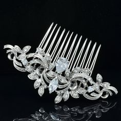 Free Shipping Clear Rhinestone Zircon Flower Hair Comb for Women Party Wedding Bridal 4012R