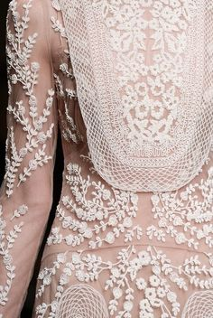 Embroidered Dress with decorative floral patterns; embellished fashion details // Valentino