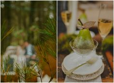 Pretty pear escort cards as reception decor. Styled by Meant To Be