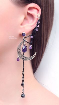 AVAILABLE again! Silver Purple Lilac Night Ear Cuff with Fairy Amethyst Stars and Scroll Moon/ curl open work Moon. Long 12 cm earring