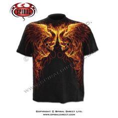T-shirt homme avec têtes de morts ailés enflammées T Shirt, Rock, Mens Tops, Fashion, Gothic Clothing, Skull, Supreme T Shirt, Moda, Tee Shirt