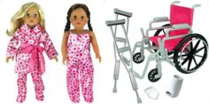 """18"""" American Girl Doll Size Wheelchair,Crutches,Cast + Satin Heart Pajamas,Robe - 9 piece set for your favorite doll. (No doll included.) www.connectibles.net"""